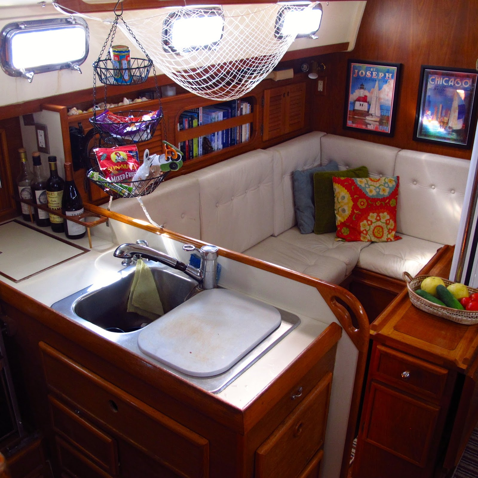 Windtraveler making a boat a home the art of decorating for Yacht interior design decoration