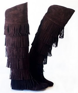 cizme negre franjuri fara toc din piele intoarsa