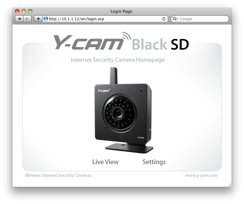 Y-Cam Splash installation screen for internet security