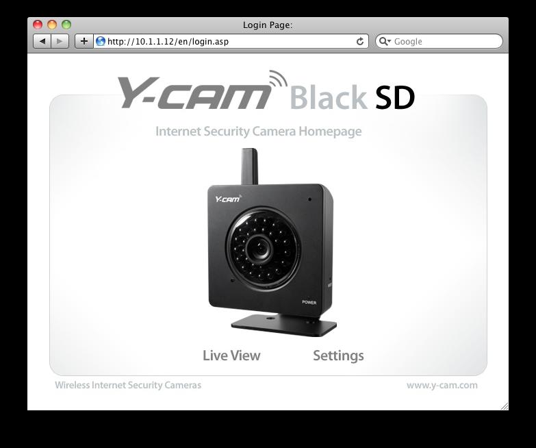 Y-Cam Splash installation screen for internet security