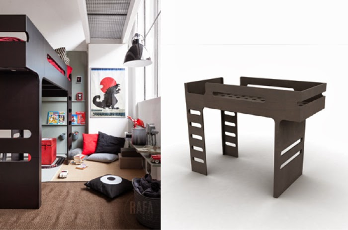 Loft bunk bed dark chocolate Rafa-kids