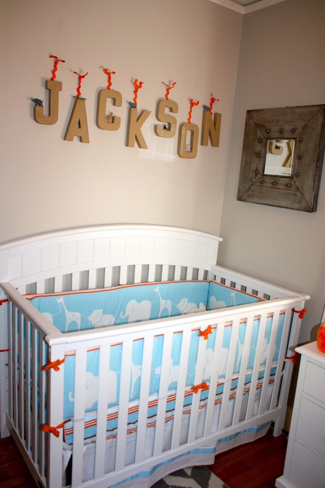 Here Is His Crib With Letters We Made And A Mirror That I Love From Target The Bedding Serena Lilly