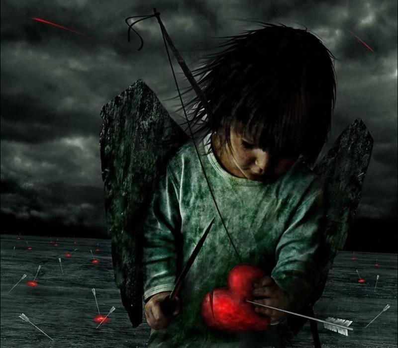 Amor med nedskudte hjerter, og en stor kniv