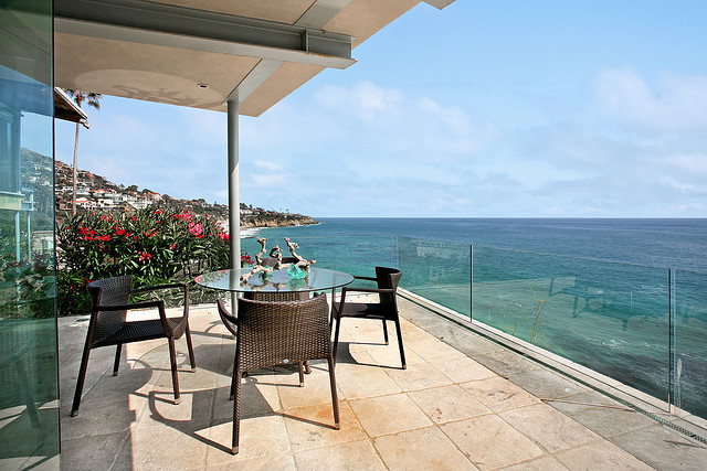 Photo of terrace furniture on the terrace with ocean view
