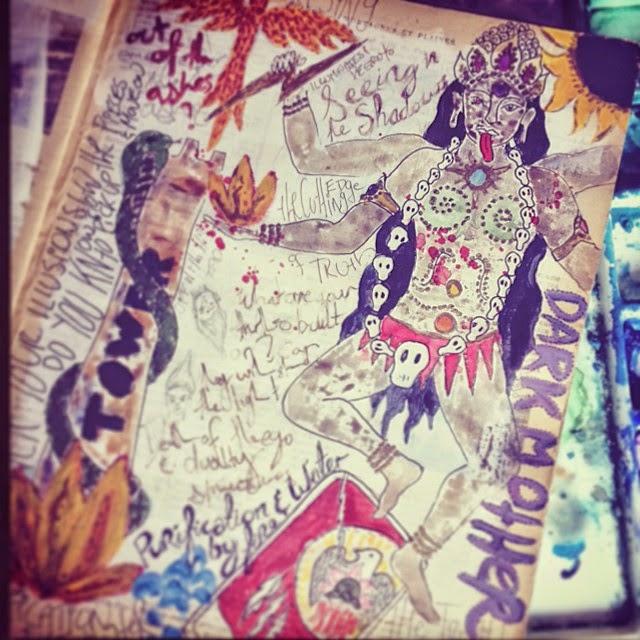 Galia Alena, tarot journal, mixed media the Tower Kali