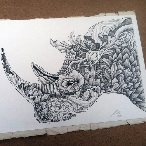 28-Rhino-Rhinoceros-Muthahari-Insani-Beautifully-Detailed-Ink-Drawings-and-Doodles-www-designstack-co