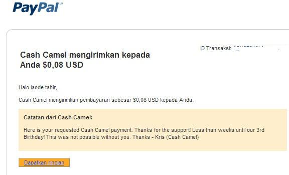 email dari paypal yang memberitahukan bahwa saya telah dikirimkan uang oleh cash camel