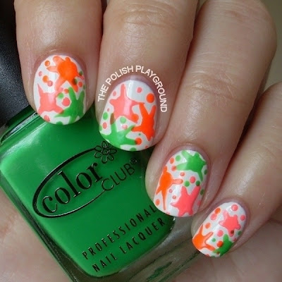 Neon Paint Splatter Nails