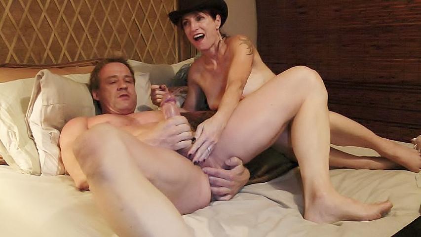 Wife watches men masturbate