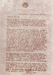 Carta del ex presidente de la república del Perú, Fernando Belaunde Terry.