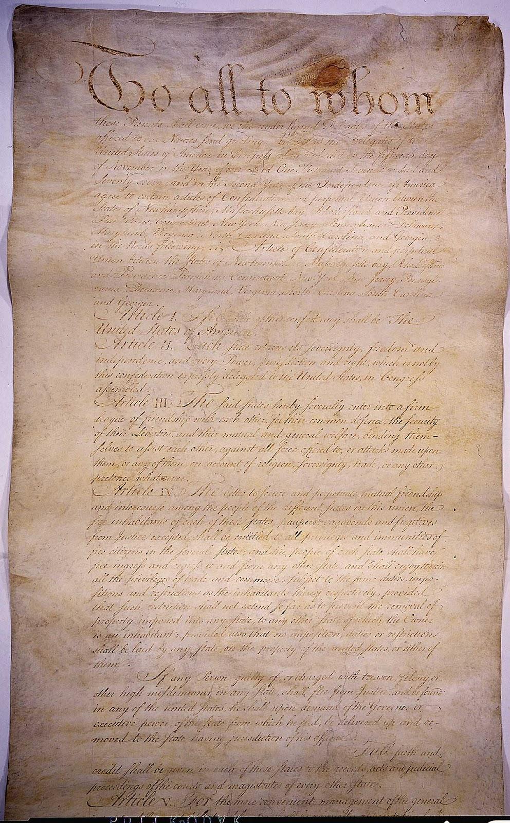 us articles of confederation 1777