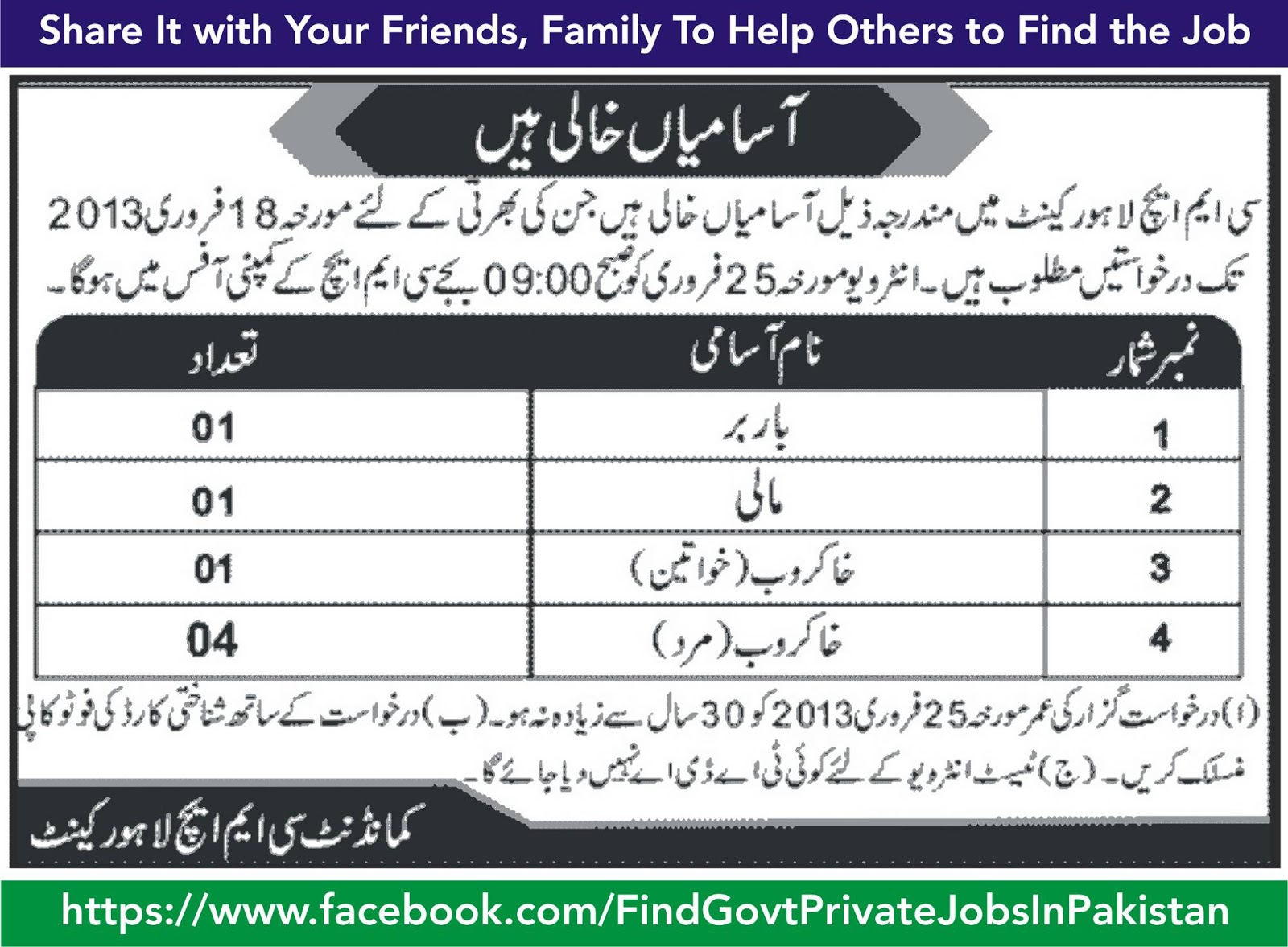 cmh lahore cantt job vacancy