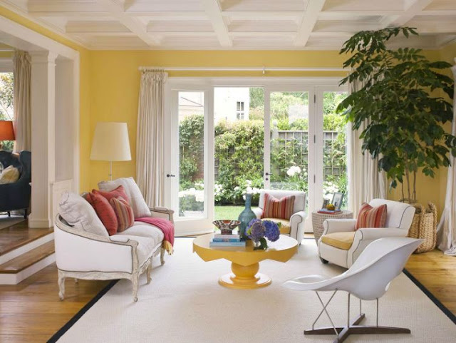 yellow parlor in a san francisco mansion with a moulded ceiling, white Louis XIV sofa, two white armchairs with nail head trim and yellow seat cushions, a yellow table, wood floor and white french doors opening up to a backyard with grass and white flowers with white floor length curtains