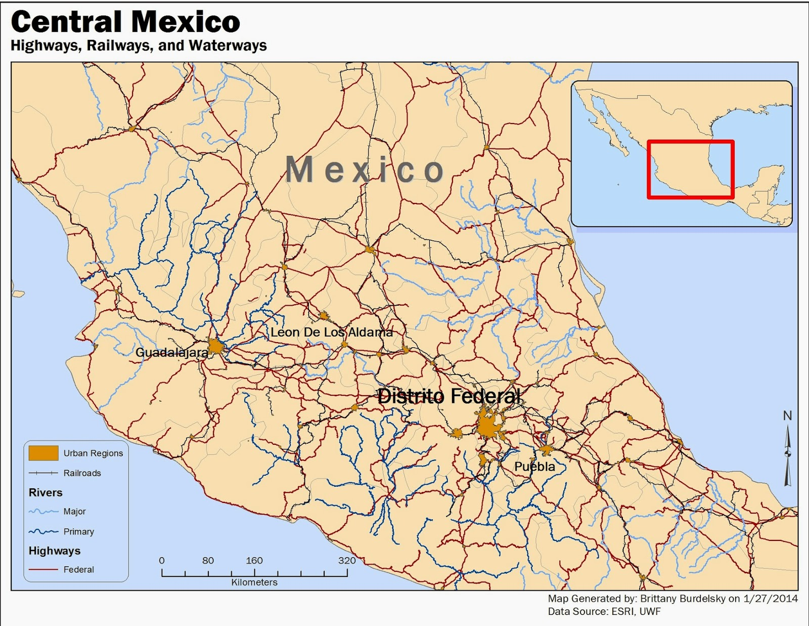 this is a map of central mexico that displays urban regions population 1 000 000 railroads federal highways and primary major waterways
