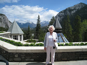 Bella in Banfflooking out from Banff Springs Hotel (banff birthday weekend )