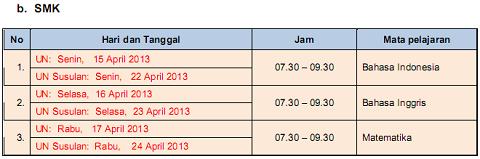 Jadwal Ujian Nasional (UN) 2013