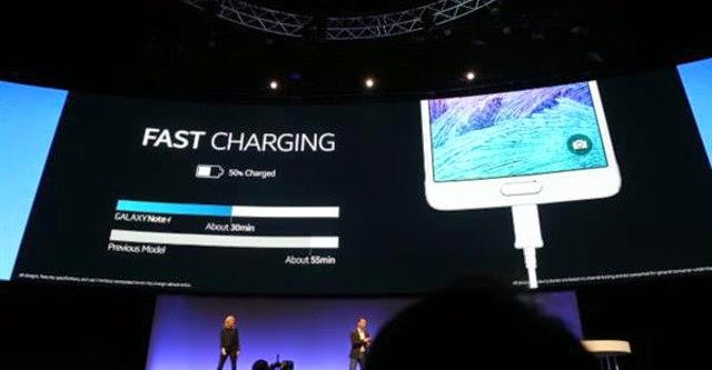 Note 4 cho phép sạc 50% pin trong vòng 30 phút