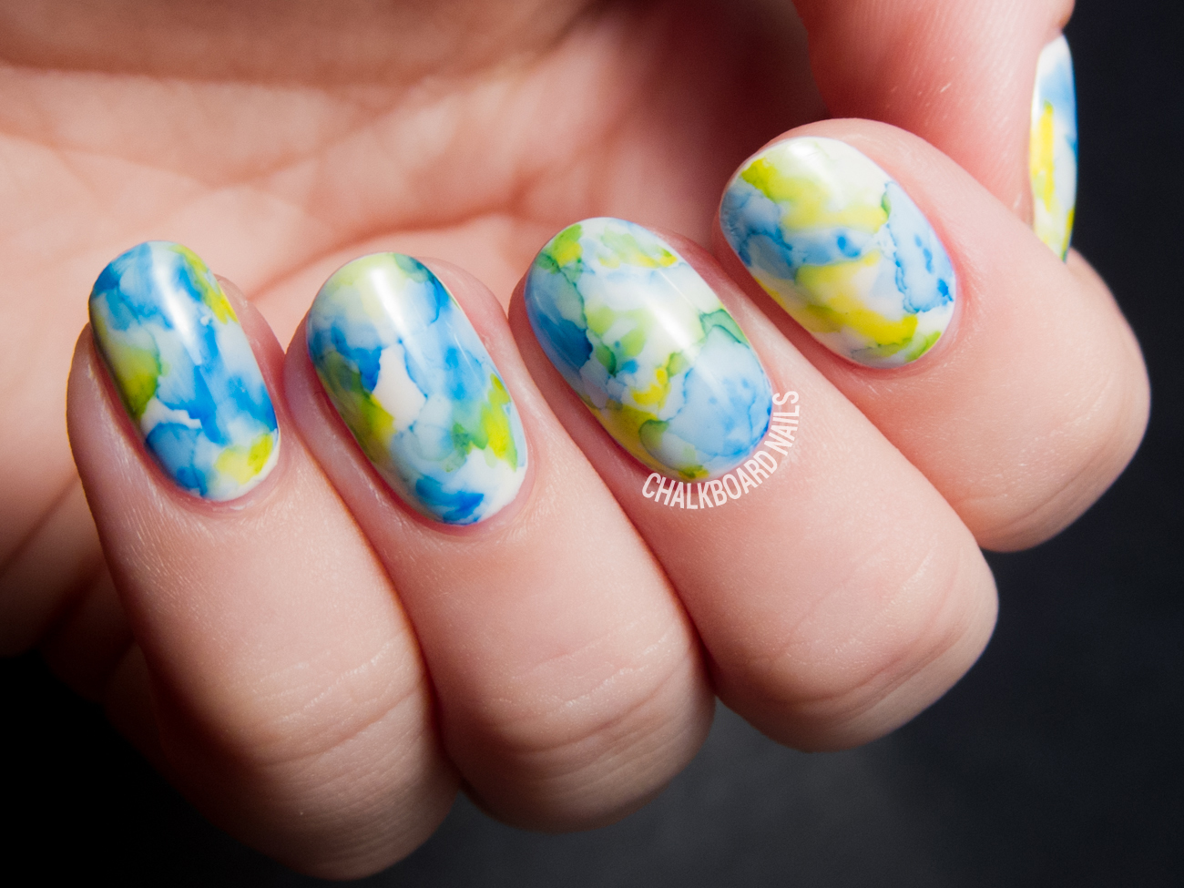The Easiest Nail Art Ever: Sharpie Marbled Gel Nails | Chalkboard ...