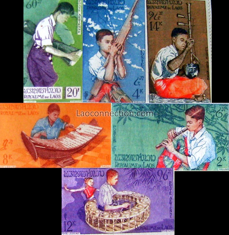 Pictures of Lao Instruments - Traditional Lao Orchestra, from Lao stamps