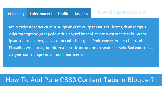 How To Add Pure CSS3 Content Tabs in Blogger