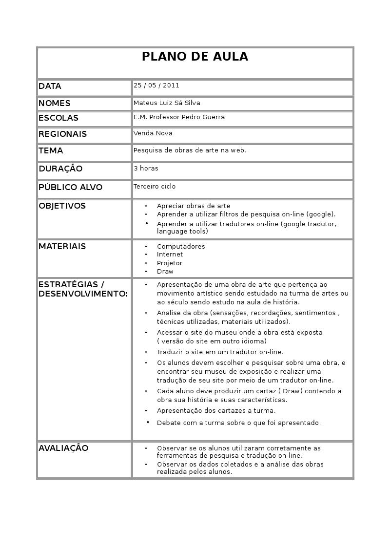 Plano de curso e plano de aula