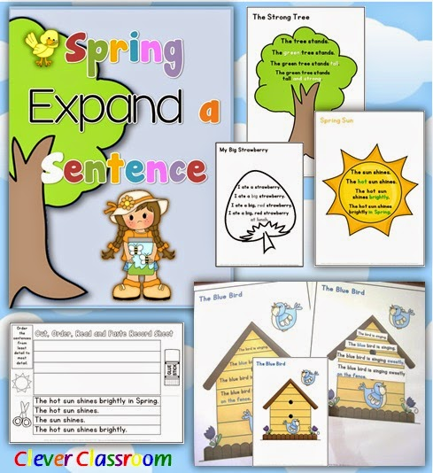 Spring Expand a Sentence Pack Grammar Activities