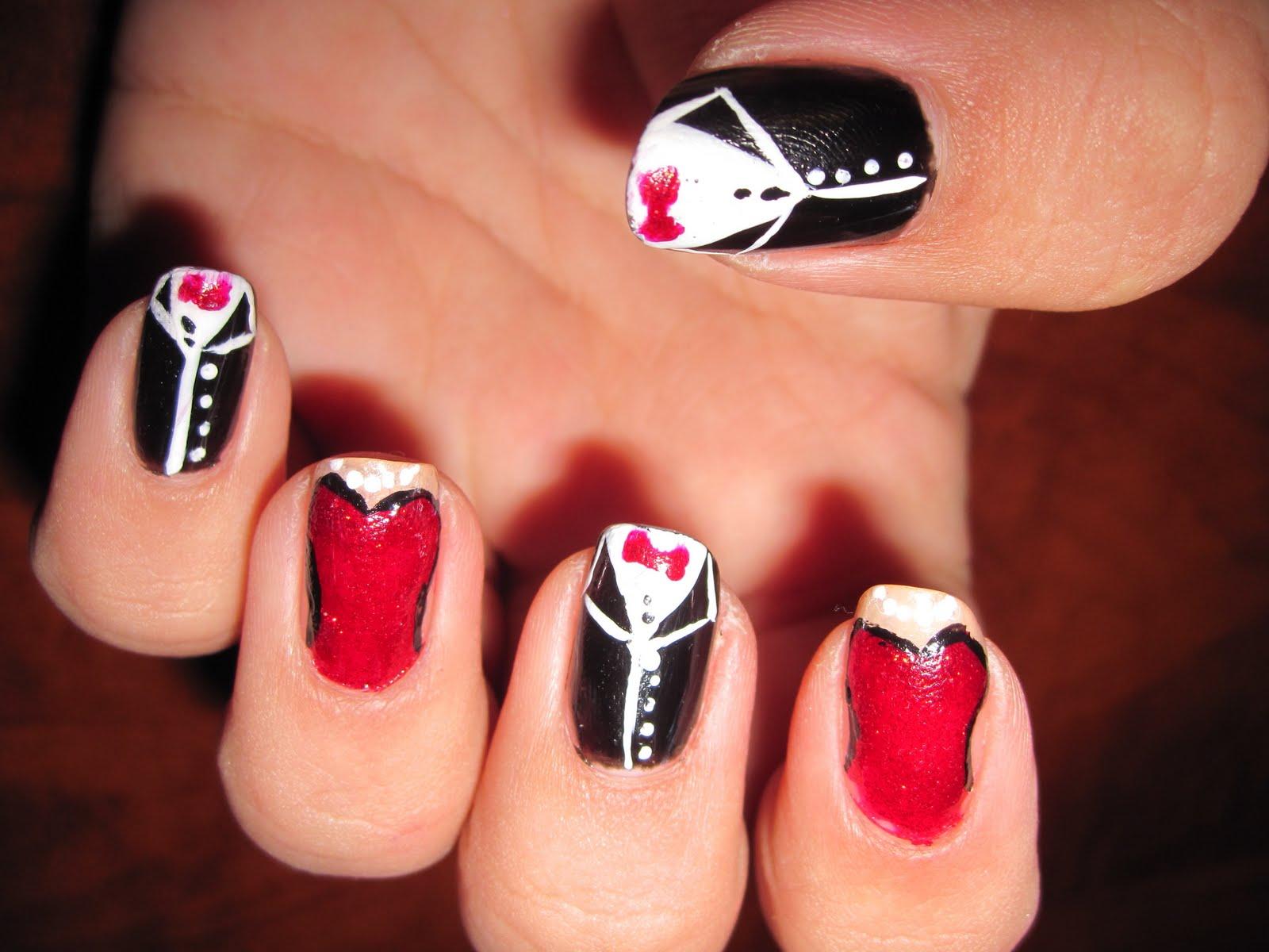 red black and silver prom nails wwwpixsharkcom