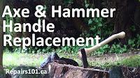 new handle on axe in wood stump