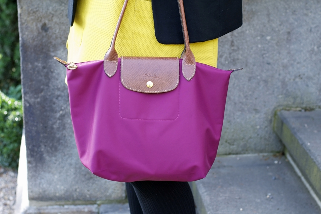 yellow purple color blocking outfit