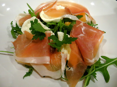 ... red shoes: Salad of Cantaloupe melon, Parma ham and buffalo mozarella