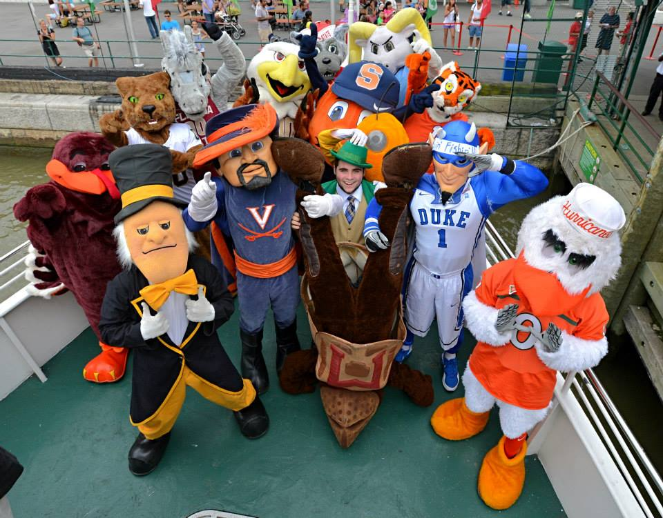 The leprechaun with all the atlantic coast conference acc mascots at
