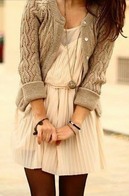 Cute casual mini dress and cardigan fashion