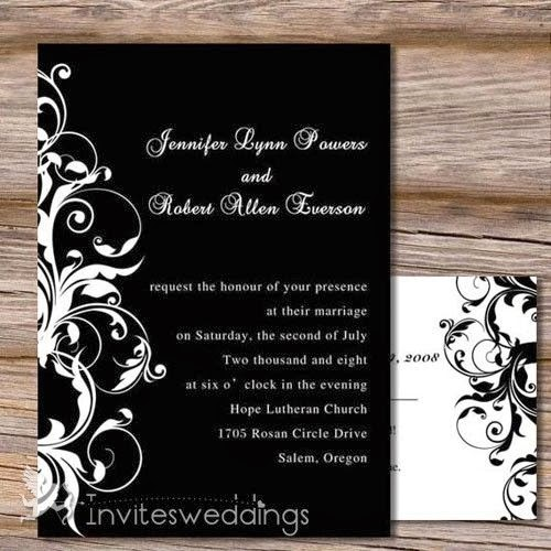 Black Wedding Invitations: Elegant Real Black & White