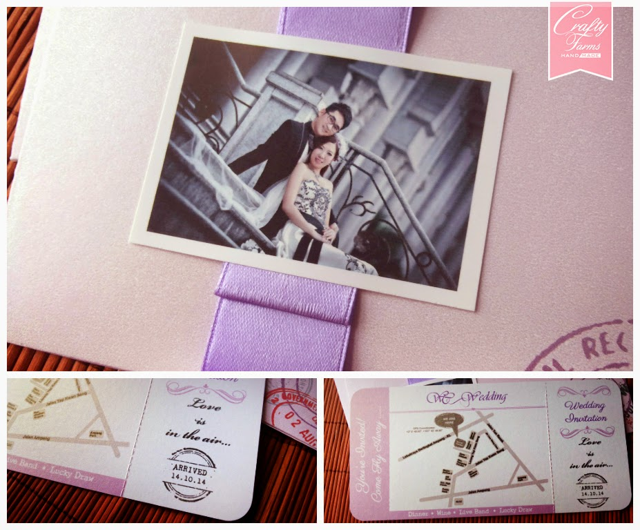 Pastel Purple Boarding Pass Wedding Invitation Card