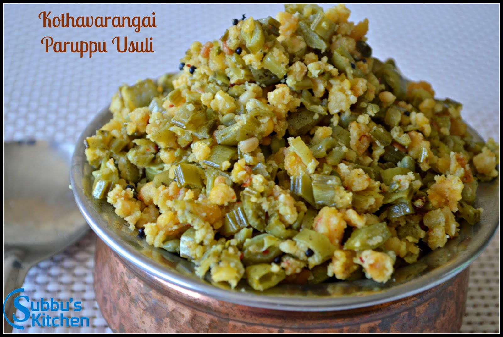 Clustered Beans Lentil Crumble / Kothavarangai Paruppu Usuli