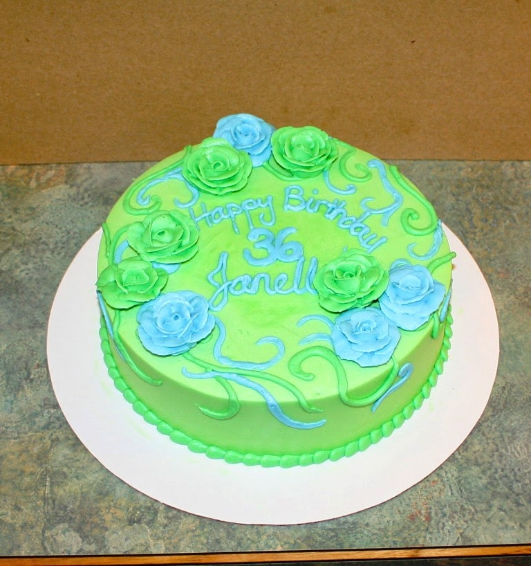 Party Cakes Green and Blue Roses Birthday Cake