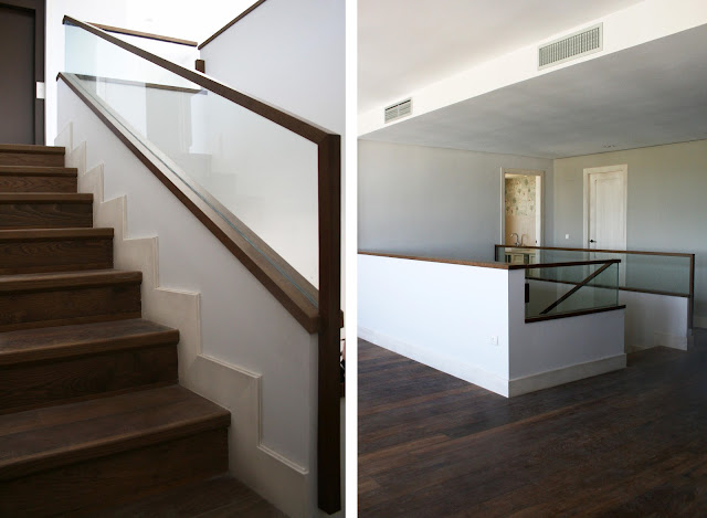 Barandilla de escalera de madera y vidrio espacios en madera - Barandillas de madera para interior ...