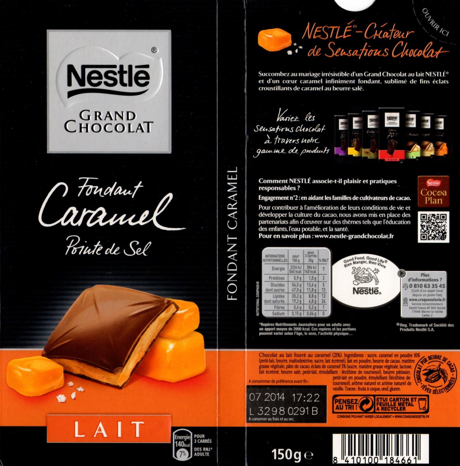 tablette de chocolat lait fourré nestlé grand chocolat fondant caramel pointe de sel