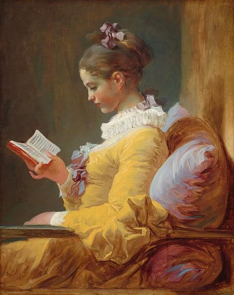 Dziewczyna czytająca książkę autorstwa Jean'a Honore Fragonard'a.
