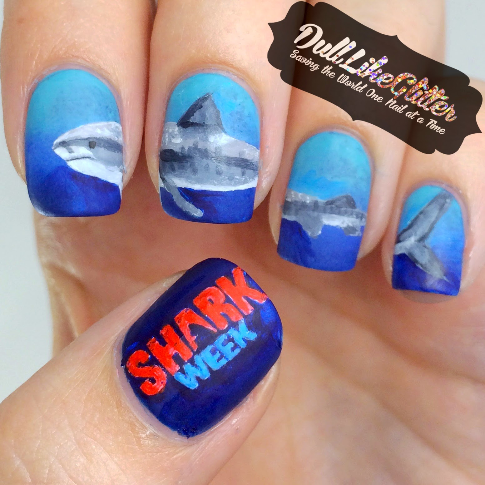 I Used A Blue Grant With Essie Aruba Butler Please And Opi Can T Find My Czechbook Then Hand Painted The Shark Week Logo