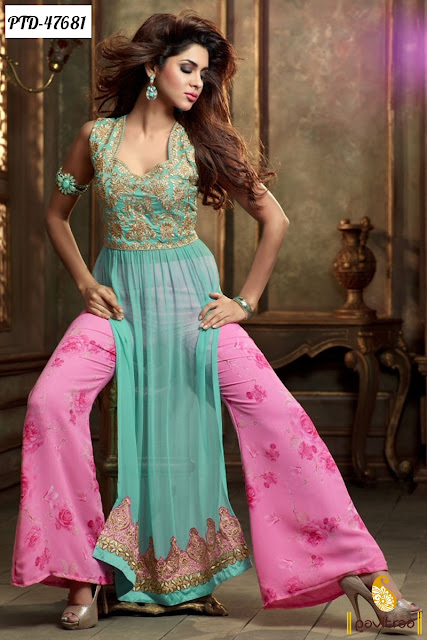 Latest designer pink chiffon anarkali salwar suit online shopping with divali festival discount offer at pavitraa.in