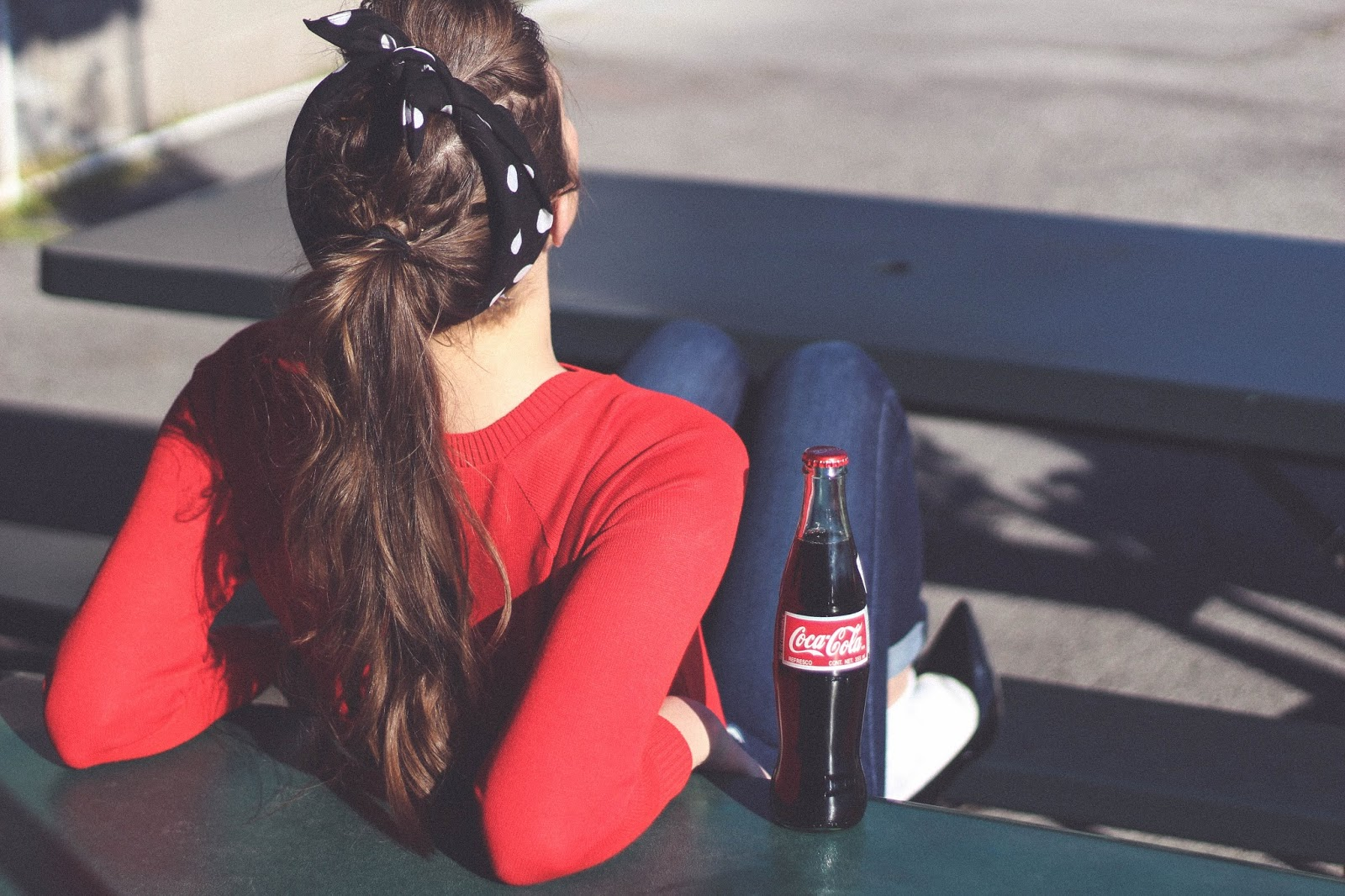 50's style, retro, coca cola, vintage outfit, gap high waist jeans, socks and heel, bandana, 50's style hair, drive in, fashion blogger