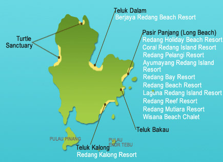 Accommodation Map of Redang