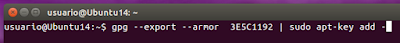 gpg --export --armor  3E5C1192 | sudo apt-key add -