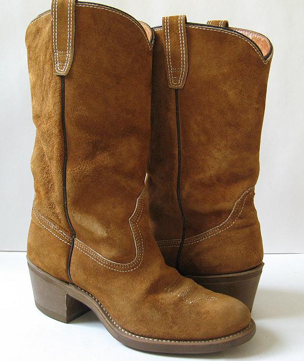 closet brown suede cowboy boots womens size 8 cobbie