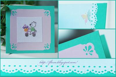 Mango - Une Anee a Broder вышивка мишка на велосипеде, вышивка и скрап, открытка с вышивкой, детская открытка, открытка для девочки,