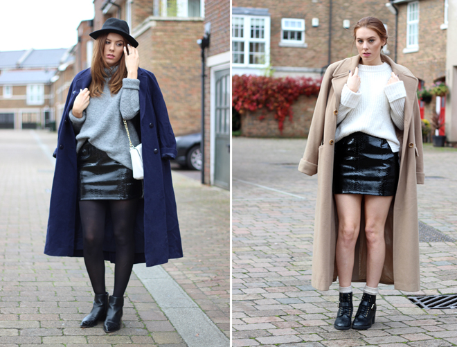 Camel Maxi Coat & Leather Mini Skirt / Navy MaxI Coat & Grey Roll neck