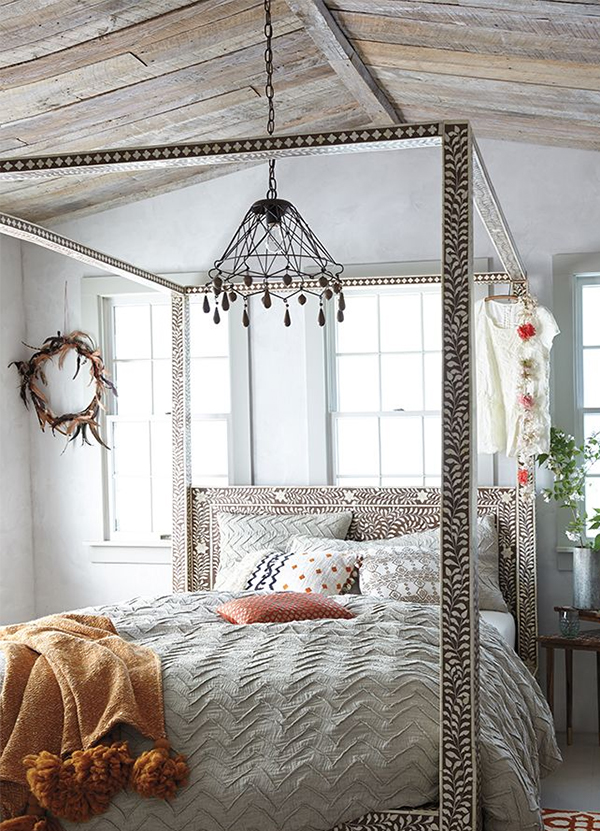 Anthropologie Featuring The Bone Inlay Four Poster Bed