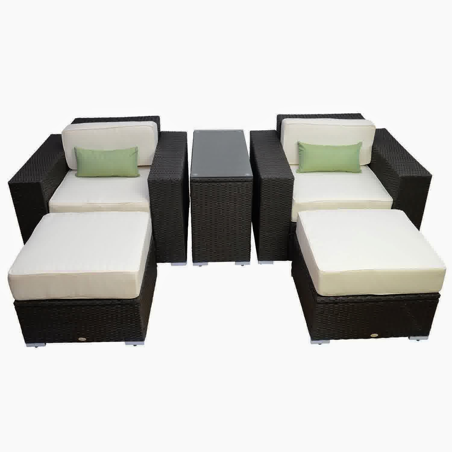 discount until 60 outsunny 5pc outdoor pe rattan wicker lounge chair patio furniture set. Black Bedroom Furniture Sets. Home Design Ideas