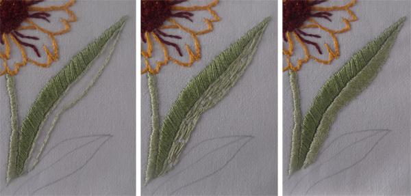 πλακέ βελονιά, φύλλα, λουλούδια,
